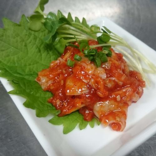 韓式辣味醃漬鱈魚內臟    タラチャンジャ